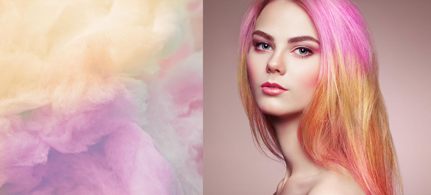 Modella capelli colorati rosa | Kléral System